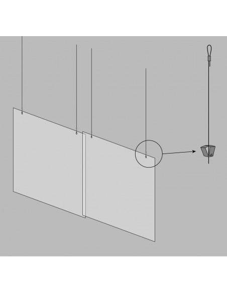 Mampara colgante protector COVID-19 esquema