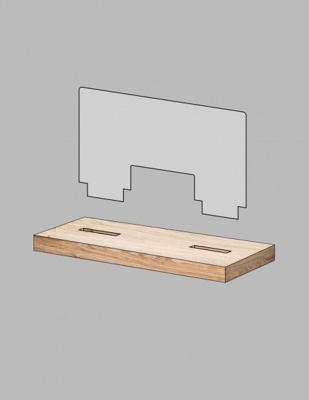 Mampara madera protector COVID-19 piezas